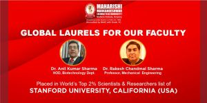 MM(DU)'s faculty makes it to Top 2% list of Scientists of Stanford University, California