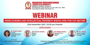 Webinar on MSME Schemes and Intellectual Property Rights (IPR) for Toy Sector