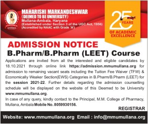Counseling Schedule for B.Pharm Program