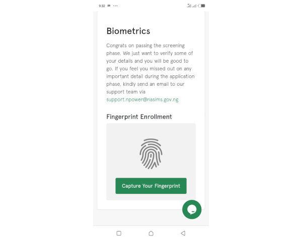 N Power Commence Biometrics fingerprint Verification Of Batch C applicants