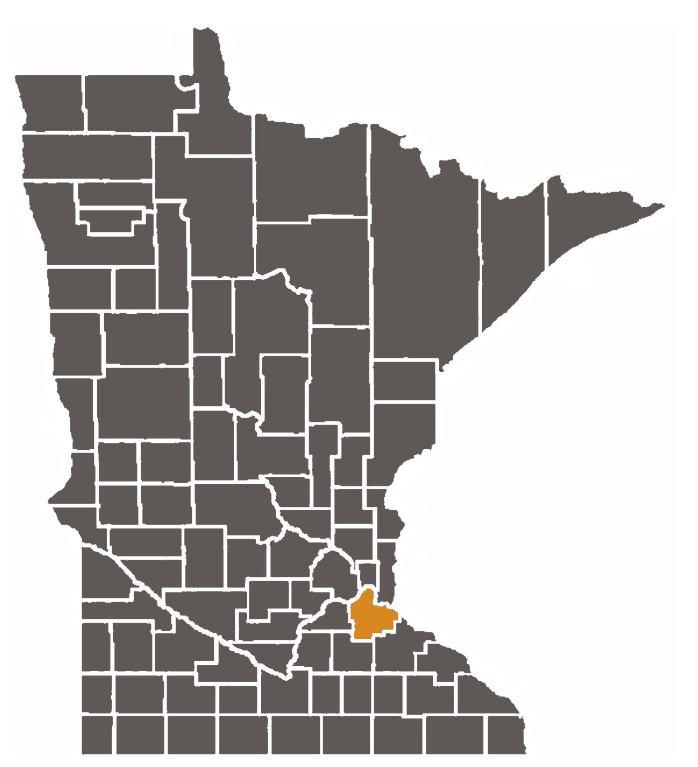 Minnesota map with Dakota County highlighted.