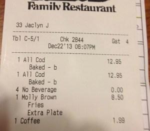 Restaurant tab
