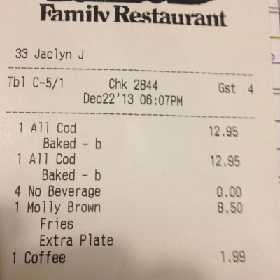 Day 22 – Random Act of Christmas Kindness – Restaurant Meal