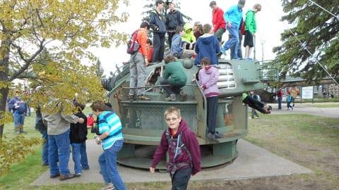 Little Falls kids on tank