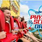 Children riding thrill ride.