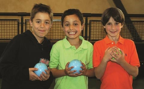 Kids with bocce balls