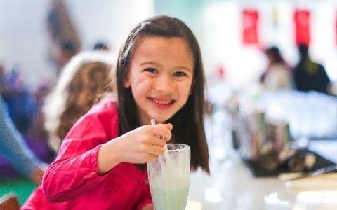 Girl enjoying malt