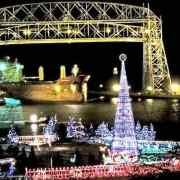 A bridge lit up for Christmas