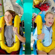Kids on amusement park ride