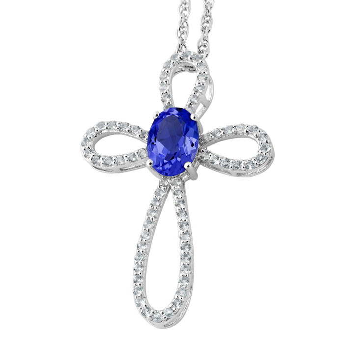 Pure Elegance Necklace (Silver), Created Blue Sapphire
