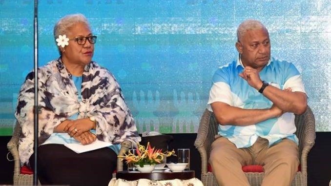 The Deputy Prime Minister of Samoa, Fiame Naomi Mata'afa, and the Prime Minister of Fiji, Frank Bainimarama at the Climate Action Partnership Program Conference in Fiji