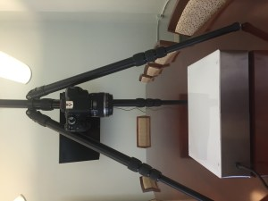 Our light box and camera solution for digitizing lantern slides.