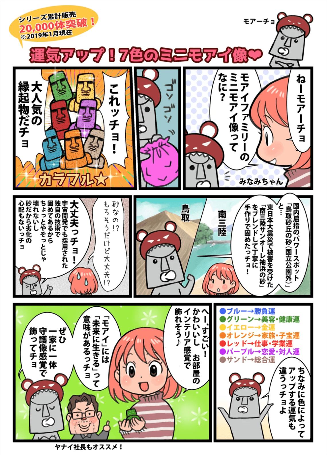 漫画:開運ミニモアイ像