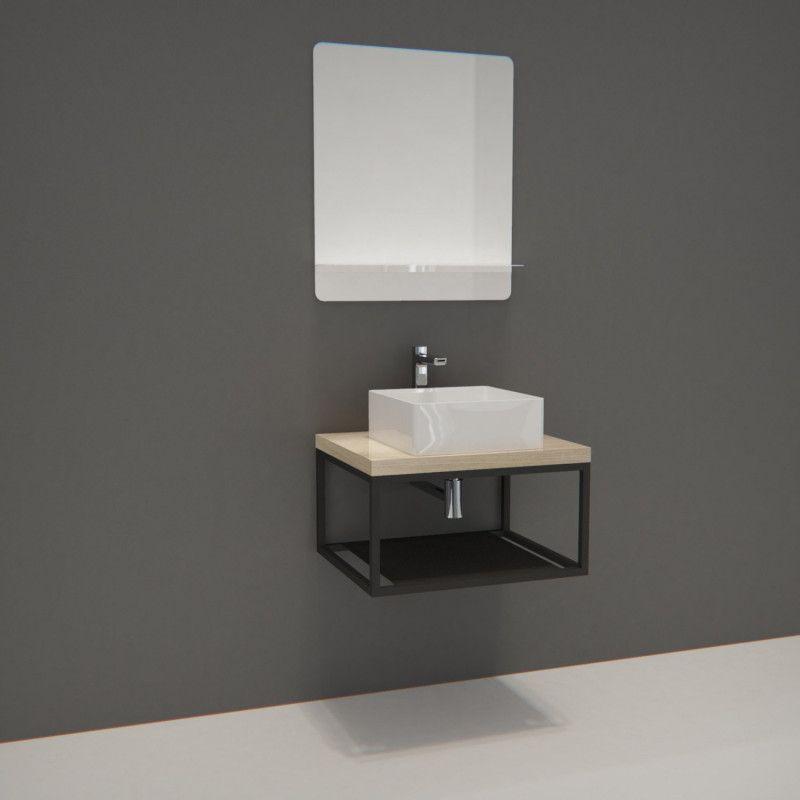 Mob In Com Ensemble De Salle De Bain Will Plan De Toilette Suspendu 60 Cm Structure Metal Noir Mat Vasque Miroir