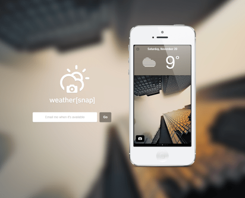Weather's (snap) launch page. A minimalistic page with a prominent email sign-up form.