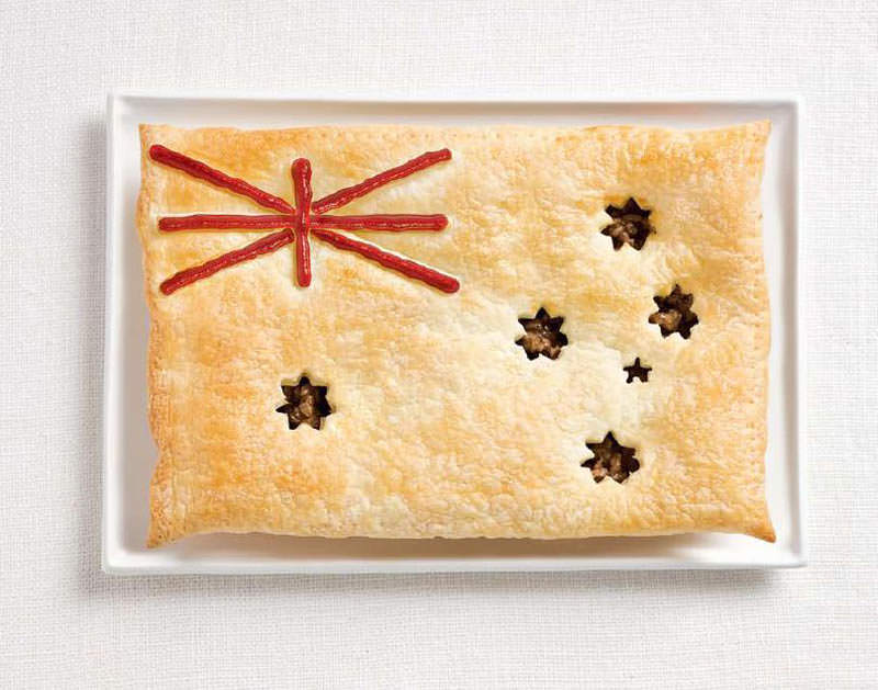 australia flag made from food