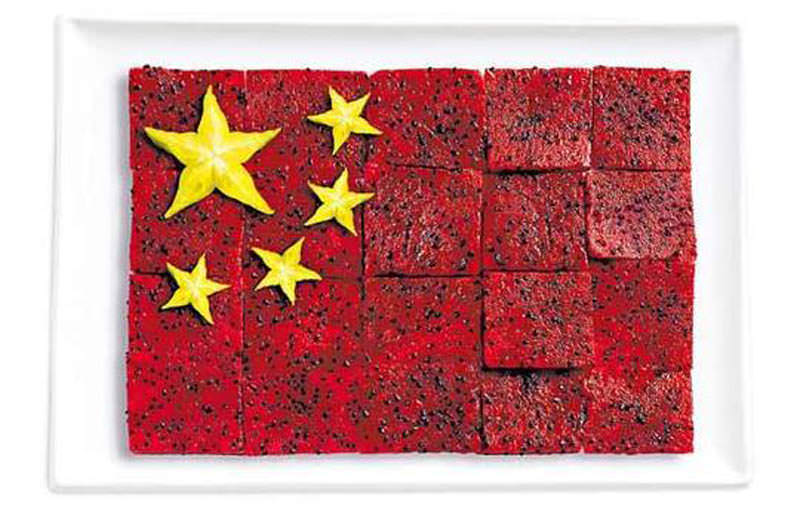 china flag made from food