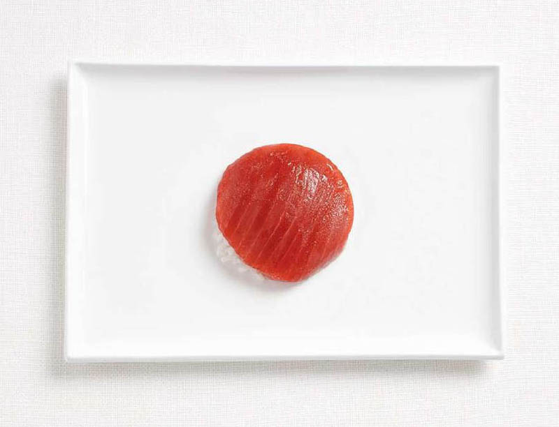 japan flag made from food