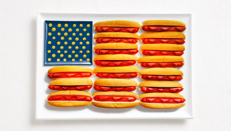 united states flag made from food