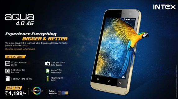 Intex Aqua 4.0 4G with AMOLED display, VoLTE launched in India for Rs. 4199