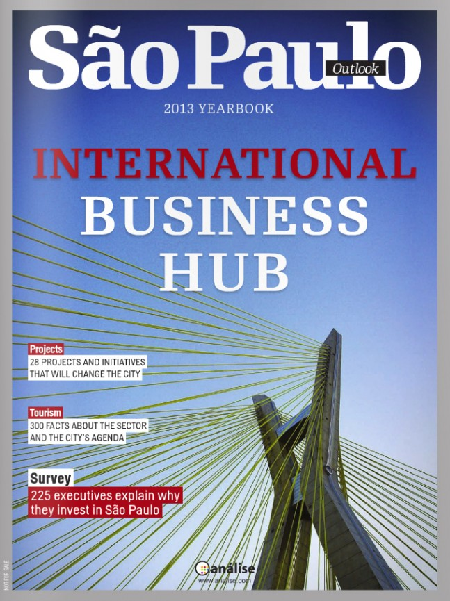 Capa da revista Outlook São Paulo de 2013: um ícone de São Paulo como cidade global.