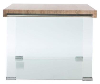 table basse moderne bois clair et verre trempe transparent nara