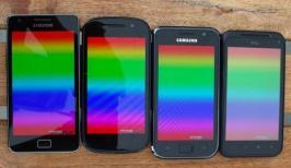 von oben Displayfarben Galaxy_S Galaxy_S2 Nexus_S Incredible_S