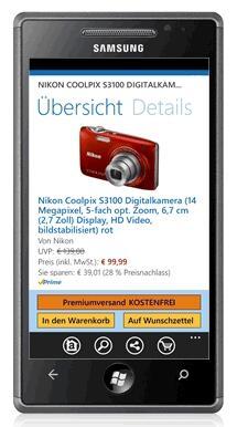 Amazon für Windows Phone 7