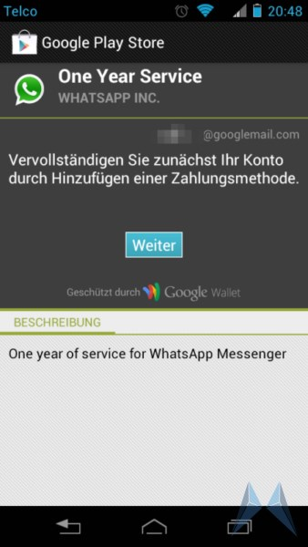 whatsapp android in app zahlung