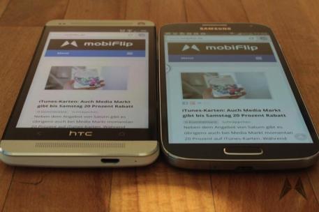 Display Samsung Galaxy S4 vs. HTC One IMG_2330