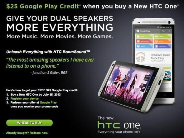 HTC One 25 $ Aktion Final