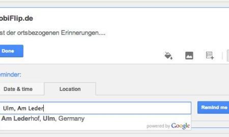 Google Keep ortsbezogene Erinnerungen