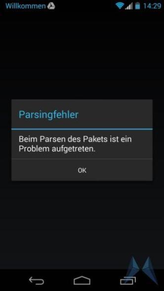 Motorola Moto G Parsing-Fehler (2)