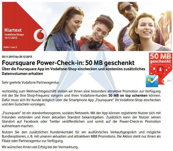 Vodafone Foursquare Aktion 50 MB 2