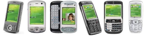 Zwar haben wir im letzten Teil alle Geräte schon besprochen, aber noch ein Blick auf die Familie HTC lohnt sich. Von links nach rechts: Artemis, Trinity, TyTN, MTeor, Excalibur, Oxygen