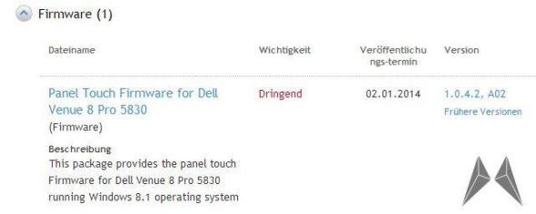 Dell Venue 8 Pro Touch Panel Firmware Update