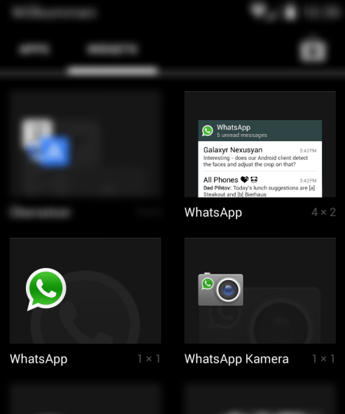 whatsapp android widgets