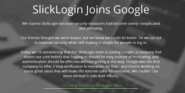 SlickLogin Uebernahme Google