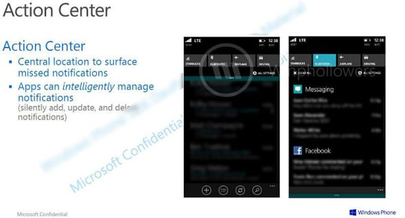 Windows Phone Action Center