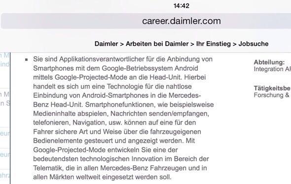 Daimler Google Projected Mode