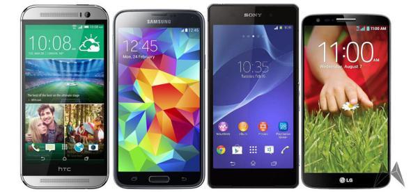 HTC One M8 Samsung Galaxy S5 Sony Xperia Z2 LG G2