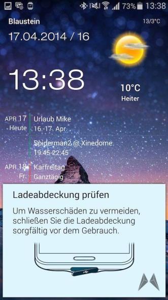 Samsung Galaxy S5 IP67 Meldung