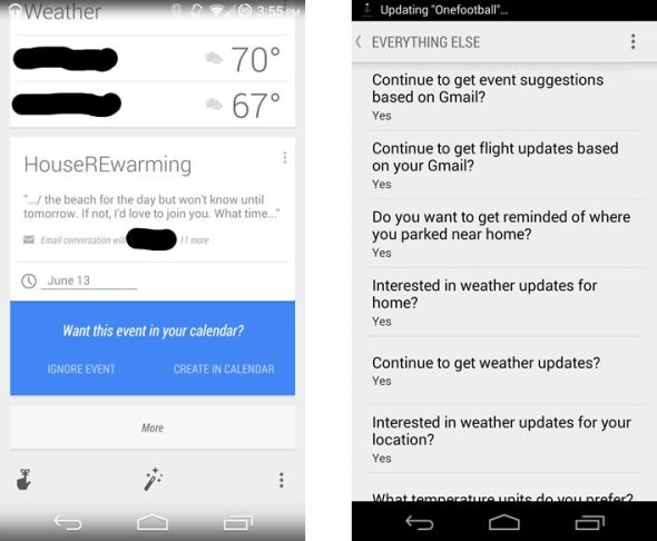 Google Now Gmail Calendar