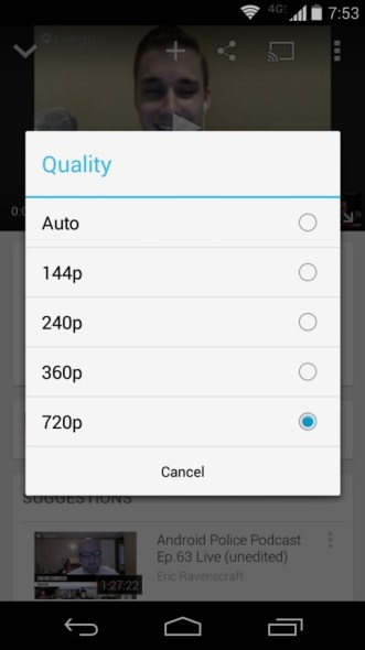 youtube android option