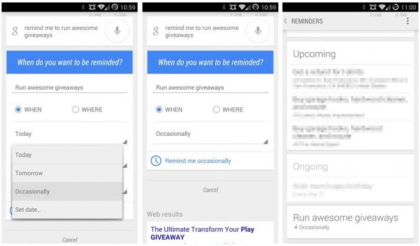 Google Now Erinnerungen