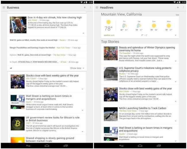 Google News und Wetter Screen