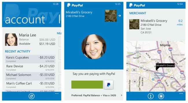 PayPal Windows Phone Screenshots
