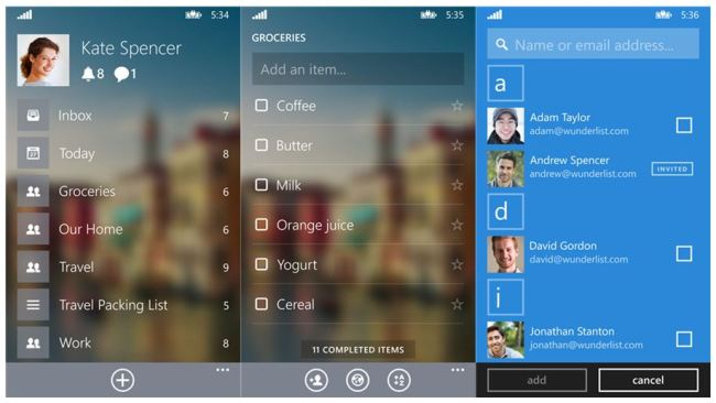 Wunderlist 3 Windows Phone Screenshots