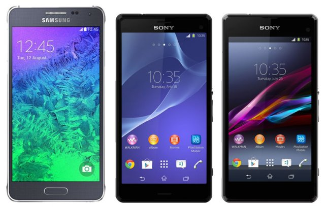 Das Samsung Galaxy Alpha, Sony Xperia Z3 Compact und Z1 Compact (Mockup)