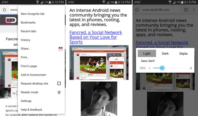 Android Chrome Beta Reader Modus Screens